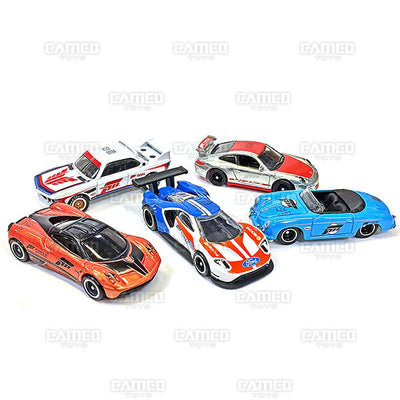FORZA MOTORSPORT Set of 5 - 2017 Hot Wheels Retro Replica Entertainment D Case assortment DMC55-956D by Mattel.