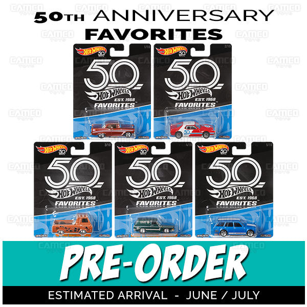 Factory Sealed Case of 10 - 2018 Hot Wheels 50th Anniversary FAVORITES A Case Assortment FLF35-A by Mattel.