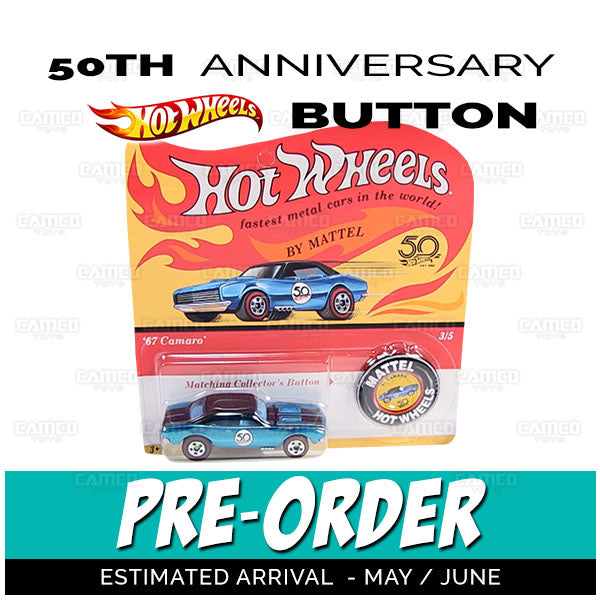 Factory Sealed Case of 25 - 2018 Hot Wheels 50th Anniversary with Button Assortment FTX83-A by Mattel.