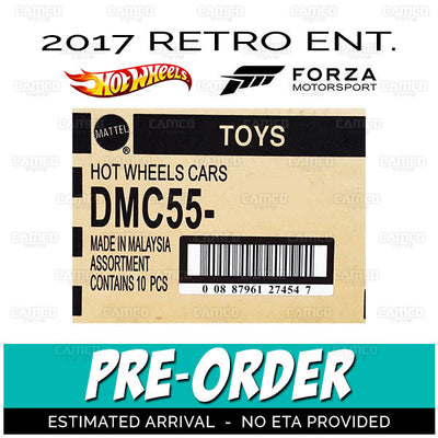 Factory Sealed FORZA MOTORSPORT Case of 10 - 2017 Hot Wheels Retro Replica Entertainment E Case assortment DMC55-956E by Mattel.