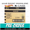 Factory Sealed case of 72 - 2018 Hot Wheels Basic Mainline K Case assortment C4982 by Mattel