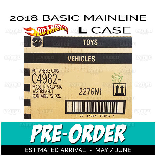 Factory Sealed case of 72 - 2018 Hot Wheels Basic Mainline L Case assortment C4982 by Mattel