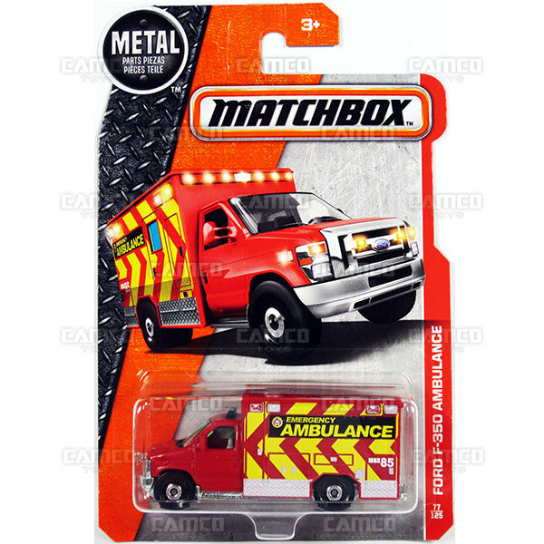 Ford F-350 Ambulance #77 red - from 2017 Matchbox Basic B Case Assortment 30782 by Mattel.
