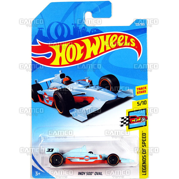 Indy 500 Oval #123 Gulf - 2018 Hot Wheels Basic Mainline F Case Assortment C4982 by Mattel.
