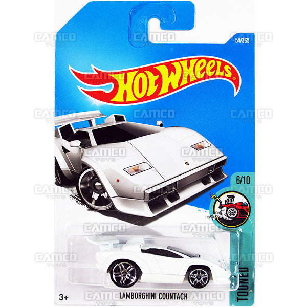 Lamborghini Countach #54 white (Tooned) - from 2017 Hot Wheels basic mainline C case Worldwide assortment C4982 by Mattel.