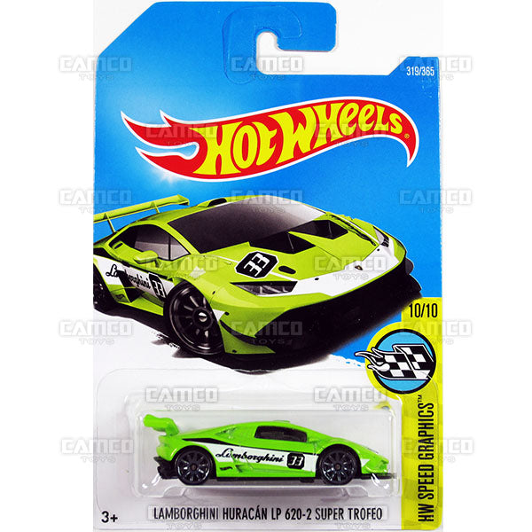 Lamborghini Huracan LP 620-2 Super Trofeo #319 green (HW Speed Graphics) - 2017 Hot Wheels Basic Mainline P Case assortment C4982  by Mattel.