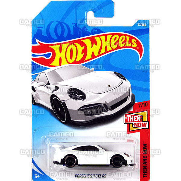 Porsche 911 GT3 RS #47 white (Then and Now) - 2018 Hot Wheels Basic Mainline B Case Assortment C4982 by Mattel.
