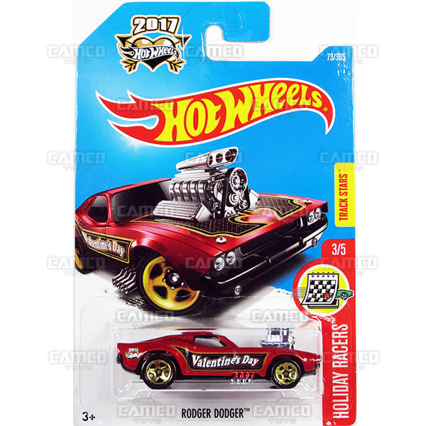 Rodger Dodger #73 red (Holiday Racers) - from 2017 Hot Wheels basic mainline D case Worldwide assortment C4982 by Mattel.