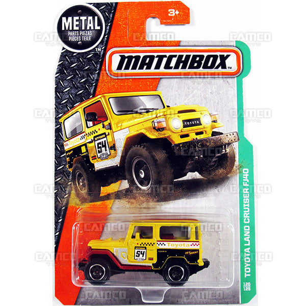 Toyota Land Cruiser FJ40 #120 yellow - from 2017 Matchbox Basic A Case Assortment 30782 by Mattel.