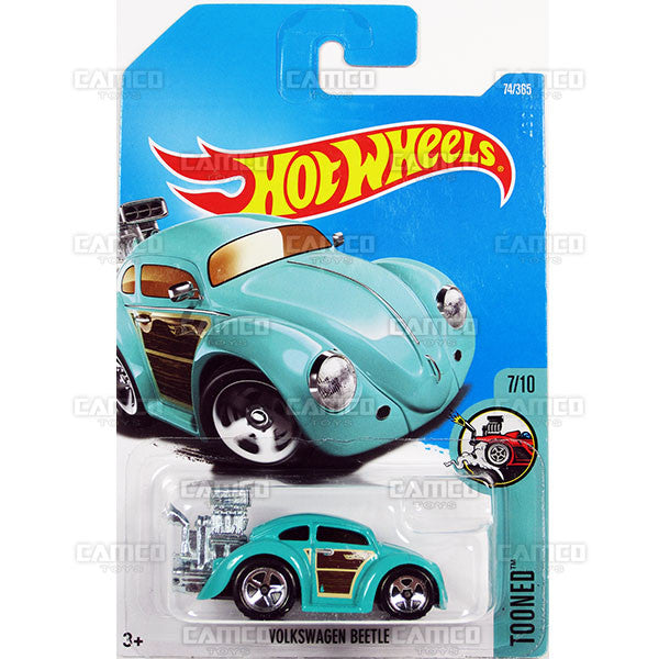 Volkswagen Beetle #74 teal (Tooned) - from 2017 Hot Wheels basic mainline D case Worldwide assortment C4982 by Mattel.