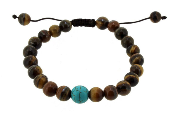 Natural Tibetan Tiger Eye with Turquoise Wrist Mala - Ākāśa