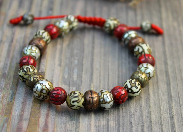 Natural Tibetan Copper Naga Shell Mantra Bead Wrist Mala - Ākāśa