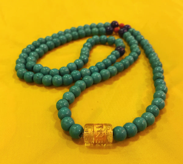 Natural Tibetan 5mm Turquoise 108 Beads Prayer Malas Necklace - Ākāśa