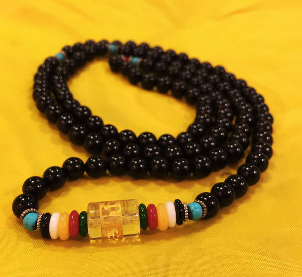 Natural Tibetan 6mm Obsidian 108 Beads Prayer Malas Necklace - Ākāśa