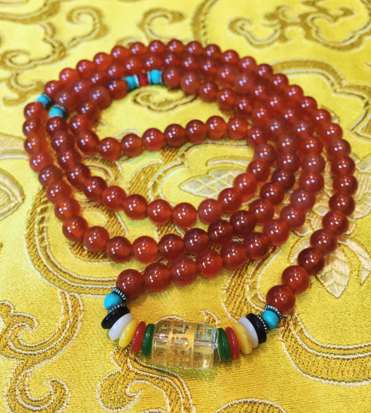 Natural Tibetan 6mm Red Coral 108 Beads Prayer Malas Necklace - Ākāśa