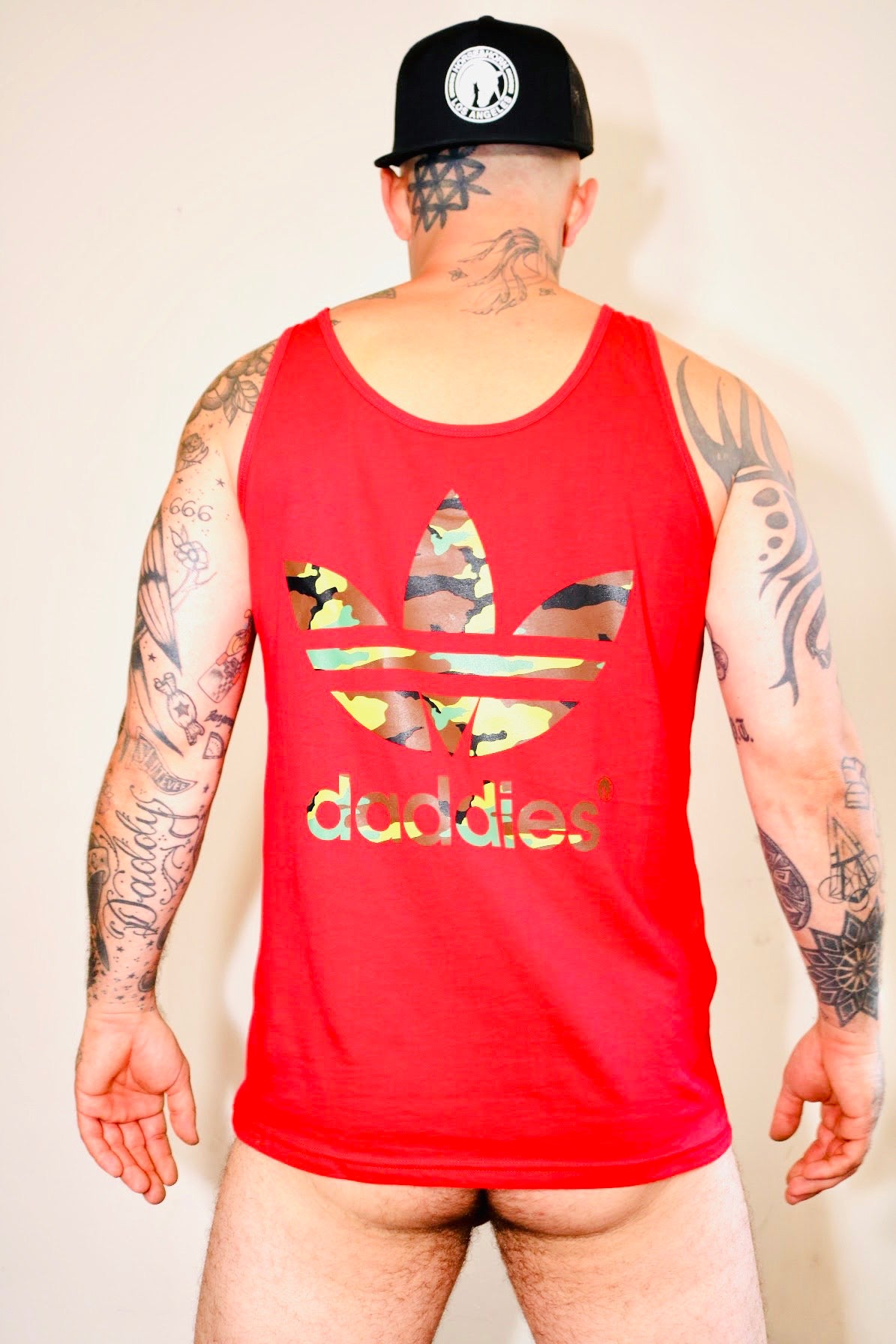 DADDIES CLASSIC CUT SOFT AF  TANK TOP CHERRY RED FILLED WITH CAMO