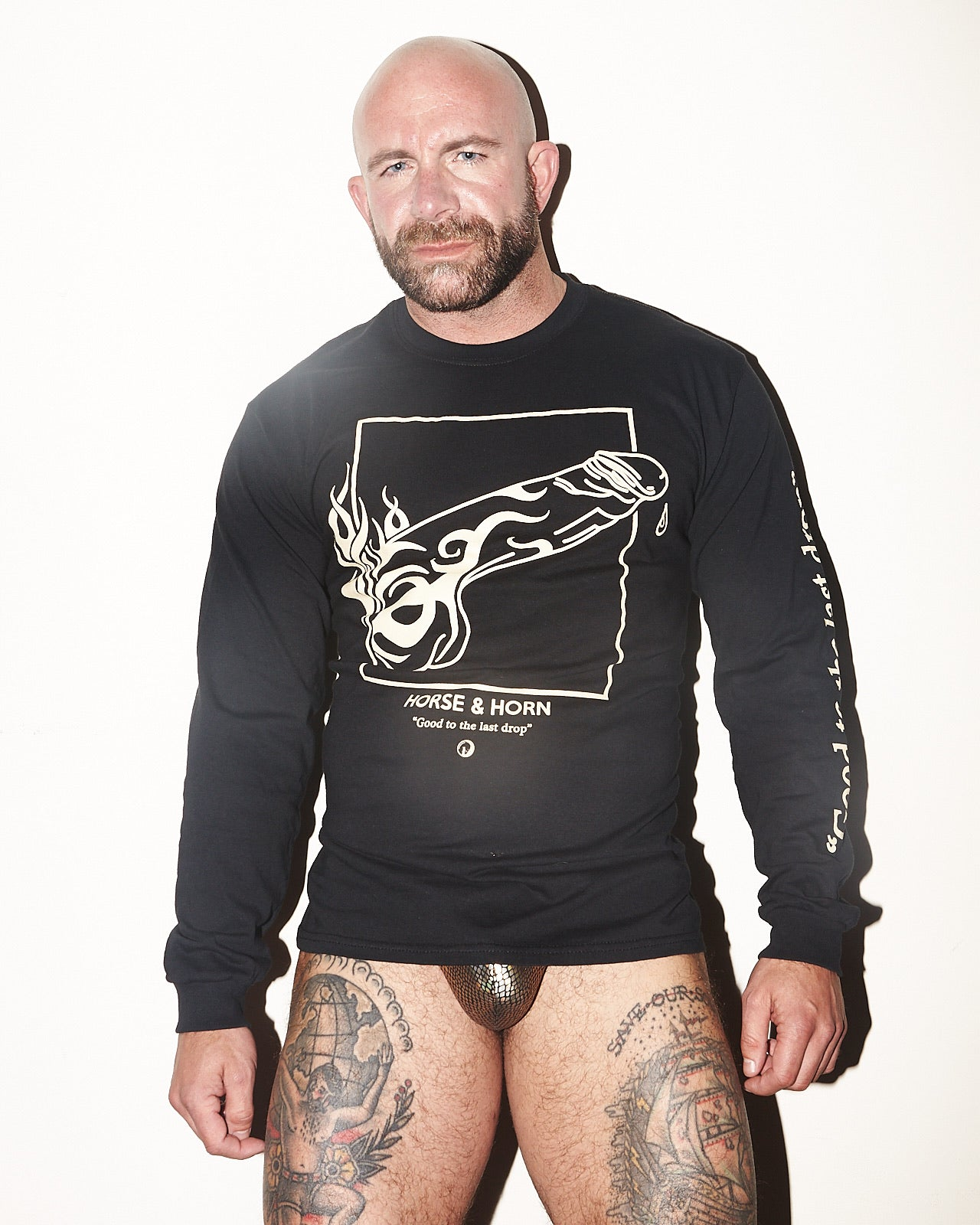 GOOD TO THE LAST DROP TRIBAL COCK LONG SLEEVE T-SHIRT