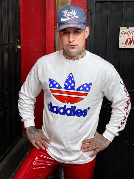 ALL AMERICAN DADDIES LONG SLEEVED T-SHIRT IN WHITE