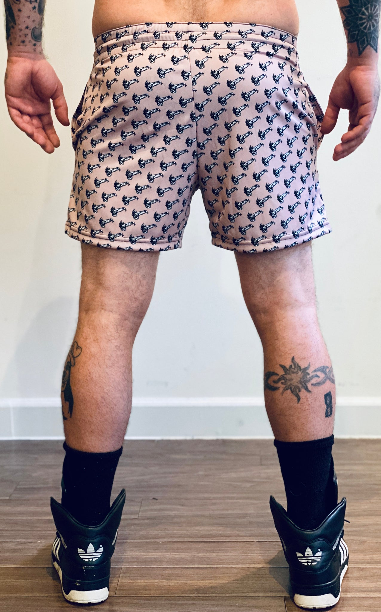 TRIBAL TATTOO FLAMING COCK PRINTED SOCCER  SHORT
