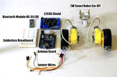 Mobile Controlled 2W Smart Robot Car using L293D Shield and Bluetooth Module