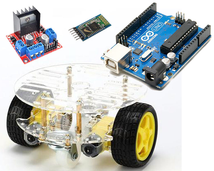 Mobile Controlled 2WD Double Deck Smart Robot Car using L298N Controller and Bluetooth Module