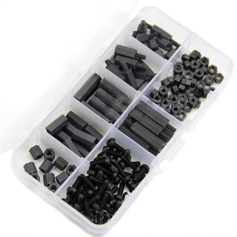 160Pcs M3 Nylon Black M-F Hex Spacers Screw Nut Assortment Kit Stand off