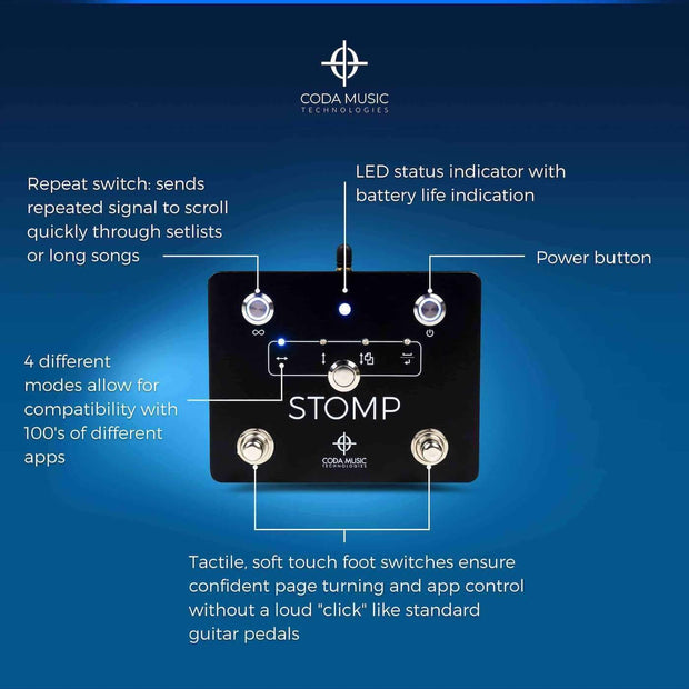 Coda Music Technologies Musical Instruments STOMP Bluetooth® 4.0 Page Turner & App Controller - B-Stock/Open Box