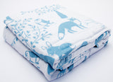 100% Organic Muslin Blanket for Babies & Toddlers - Four Layers of Certified Organic Cotton - Blue Forest
