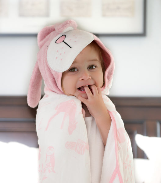 Baby & Toddler Hooded Towel - Luxurious Viscose from Bamboo - Pink Bunny