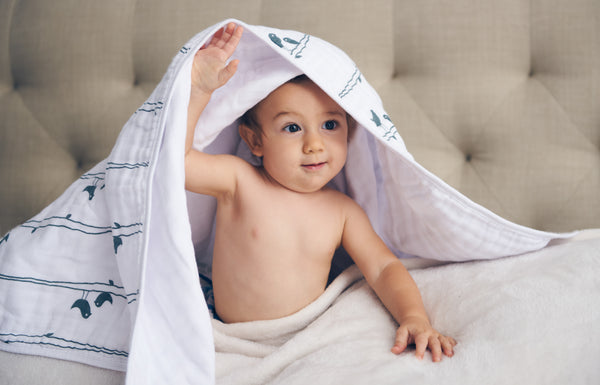 100% Organic Muslin Blanket for Babies & Toddlers - Four Layers of Certified Organic Cotton - Lucky Birds