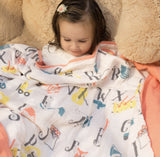 100% Organic Muslin Blanket for Babies & Toddlers - Four Layers of Certified Organic Cotton - Alphabet Blanket