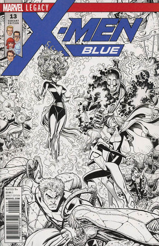 X-Men Blue #13 1/50 Arthur Adams Black & White Connecting Variant