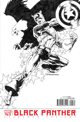 Black Panther #5 Jim Steranko Black & White Captain America Variant
