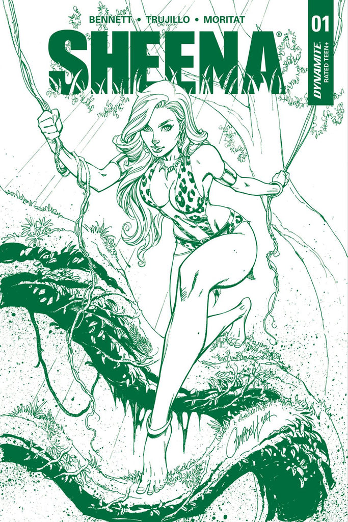 Sheena #1 J Scott Campbell Jungle Green Dynamite Premium Edition Variant