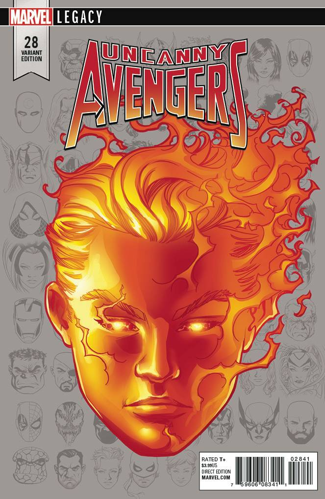 Uncanny Avengers #28 1/10 Mike McKone Human Torch Headshot Variant