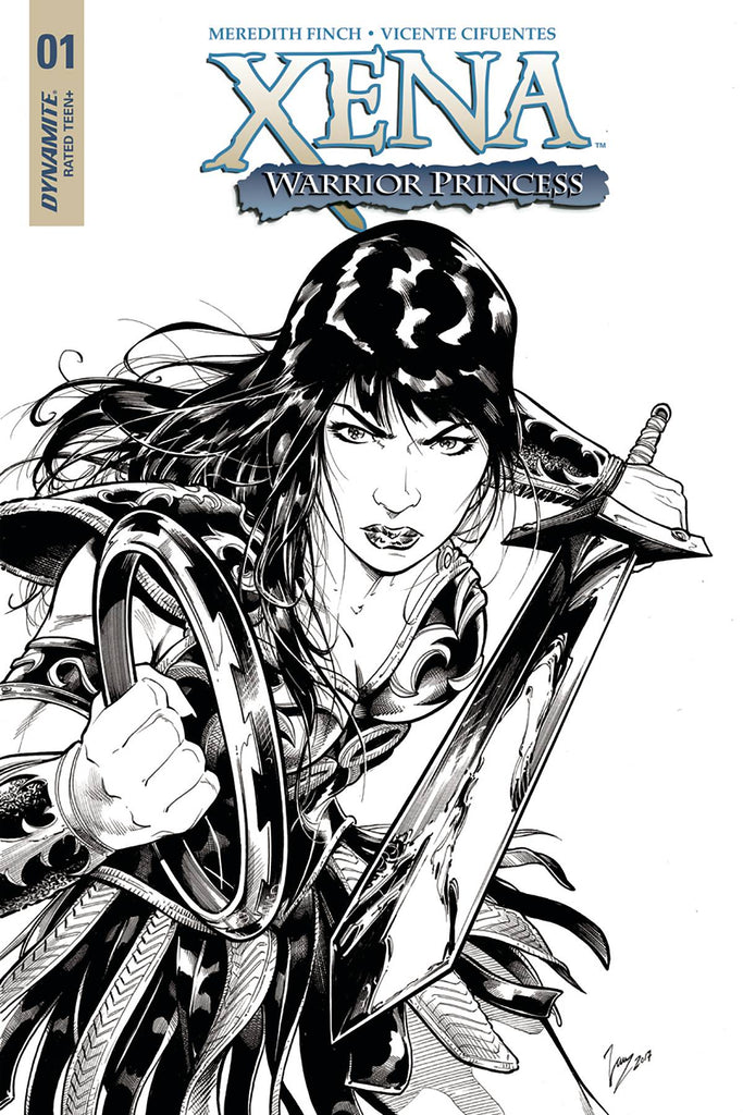 Xena #1 1/20 Vicente Cifuentes Black & White Variant