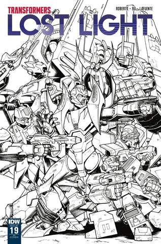 Transformers Lost Light #19 1/10 Nick Roche Black & White Variant