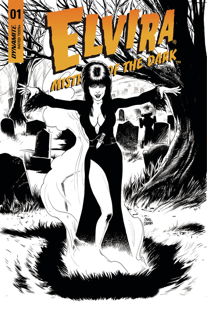 Elvira Mistress Of Dark #1 1/10 Craig Cermak Black & White Variant