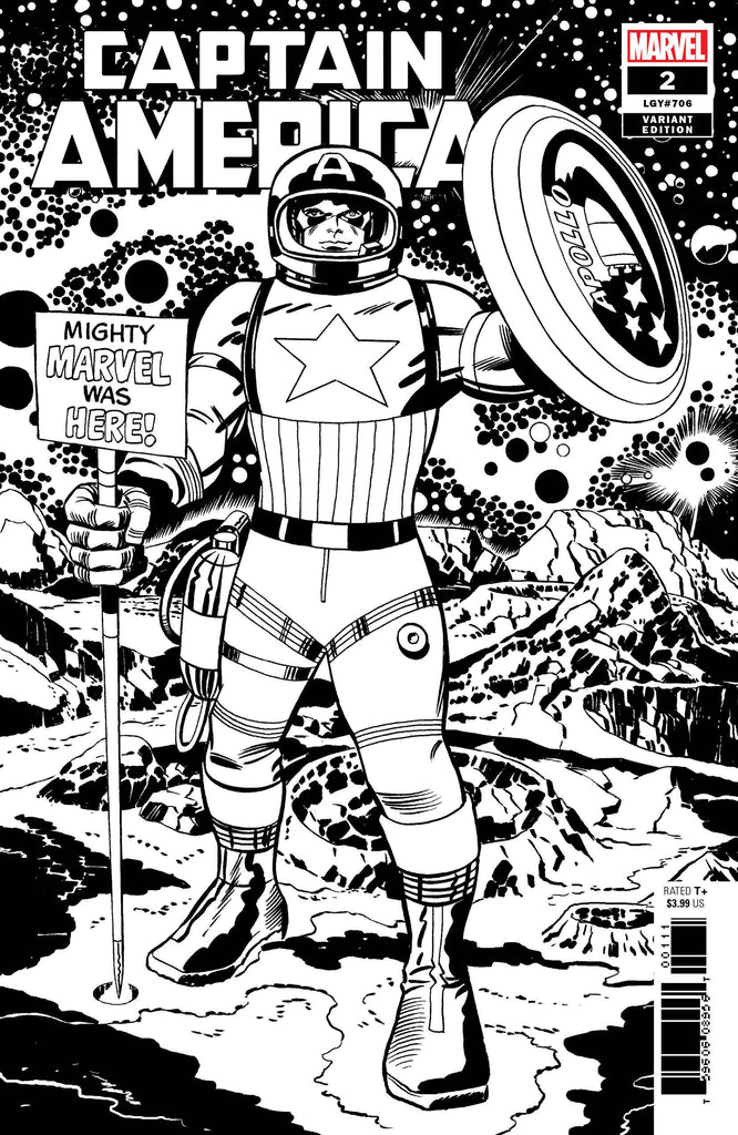 Captain America #2 1/100 Jack Kirby Remastered Black & White Variant