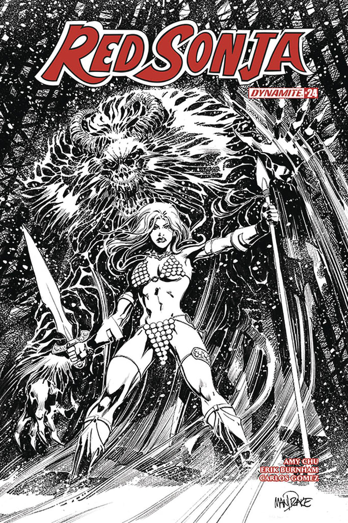 Red Sonja #24 1/25 Tom Mandrake Black & White Variant