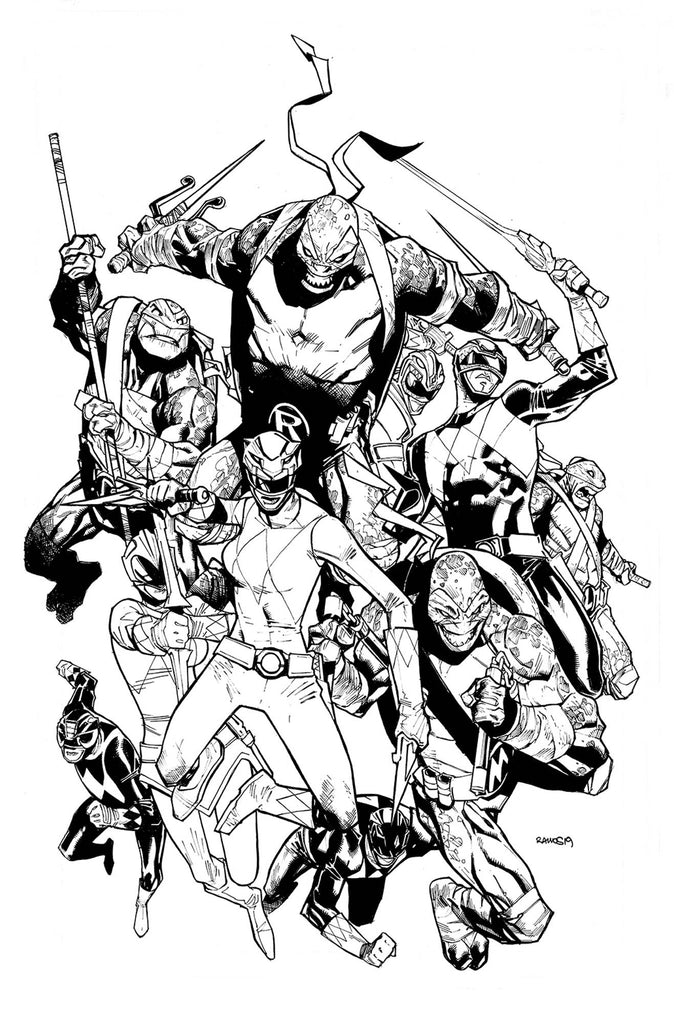 Power Rangers/Teenage Mutant Ninja Turtles #2 1/50 Humberto Ramos Black & White Variant