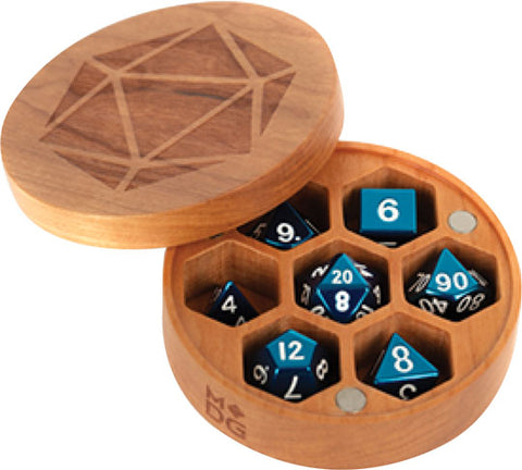 Premium Wood Round Dice Case: Cherry