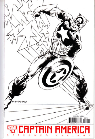 Captain America #1 1/50 Jim Steranko Black & White Variant