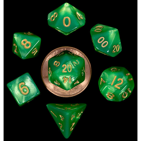 Mini Polyhedral Dice Set: Green/Light Green with Gold Numbers