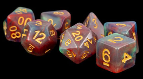 16mm Resin Flash Dice Poly Set: Pearl Swirl (7)