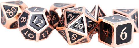 16mm Metal Polyhedral Dice Set: Antique Copper with Black Enamel