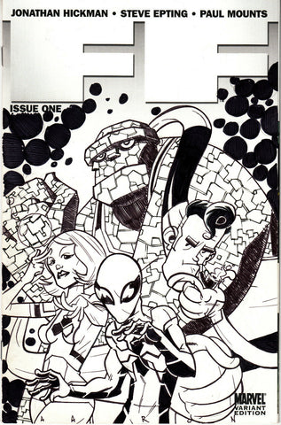 FF #1 Blank Variant (Marvel, 2011) - Signed, Sketched and Inked - Aaron Conley