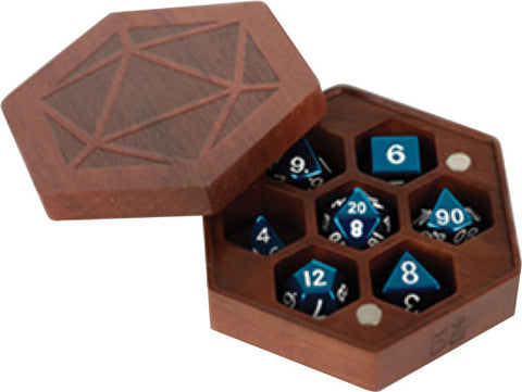 Premium Wood Hexagon Dice Case: Purple Heart