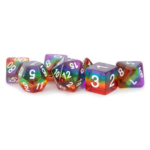 16mm Resin Flash Dice Poly Set: Resin Rainbow (7)