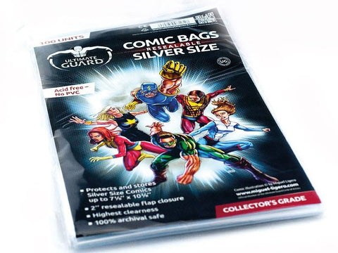 Bags: Comic Book - Resealable Silver Size (100)
